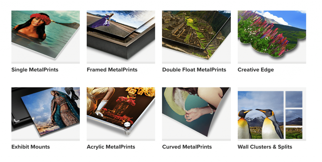 eight examples of a metal photo print made by BayPhoto Lab