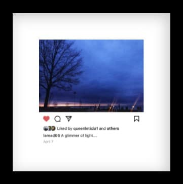 Instagram photo with message in Artifact Uprising frame