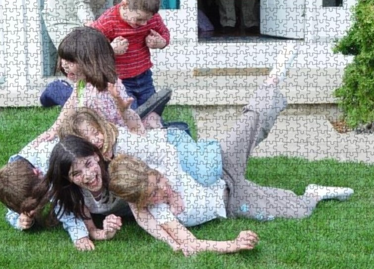 puzzle showing children tumbling