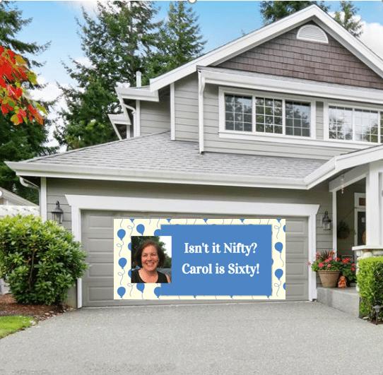 Photo banner on a garage