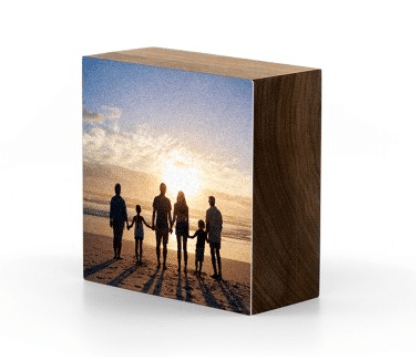 Photo printed on paper and adhered to black walnut wood.