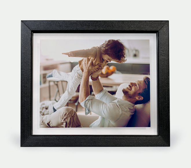 Gallery-style floating frame with photo from Walgreens
