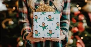 holiday package with customized gift wrap